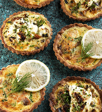 Salmon and vegetable tartlets