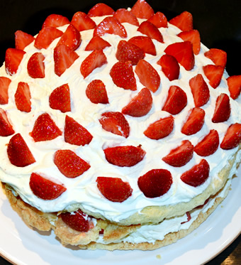 Strawberry Cream Cake by  Delicious Dining Company